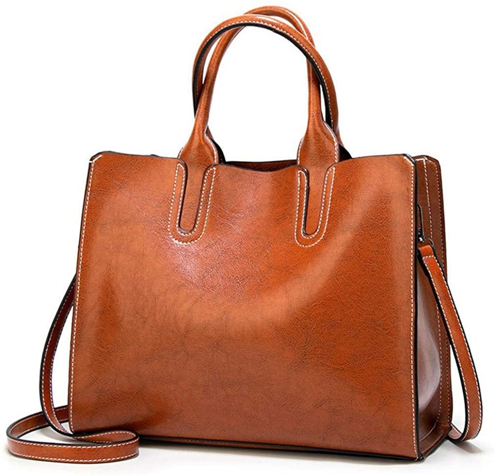 Pahajim Women Top Handle Satchel Fashion Shoulder Oil Leather Handbags Bucket Bag Tote Purse for Ladies and Girl