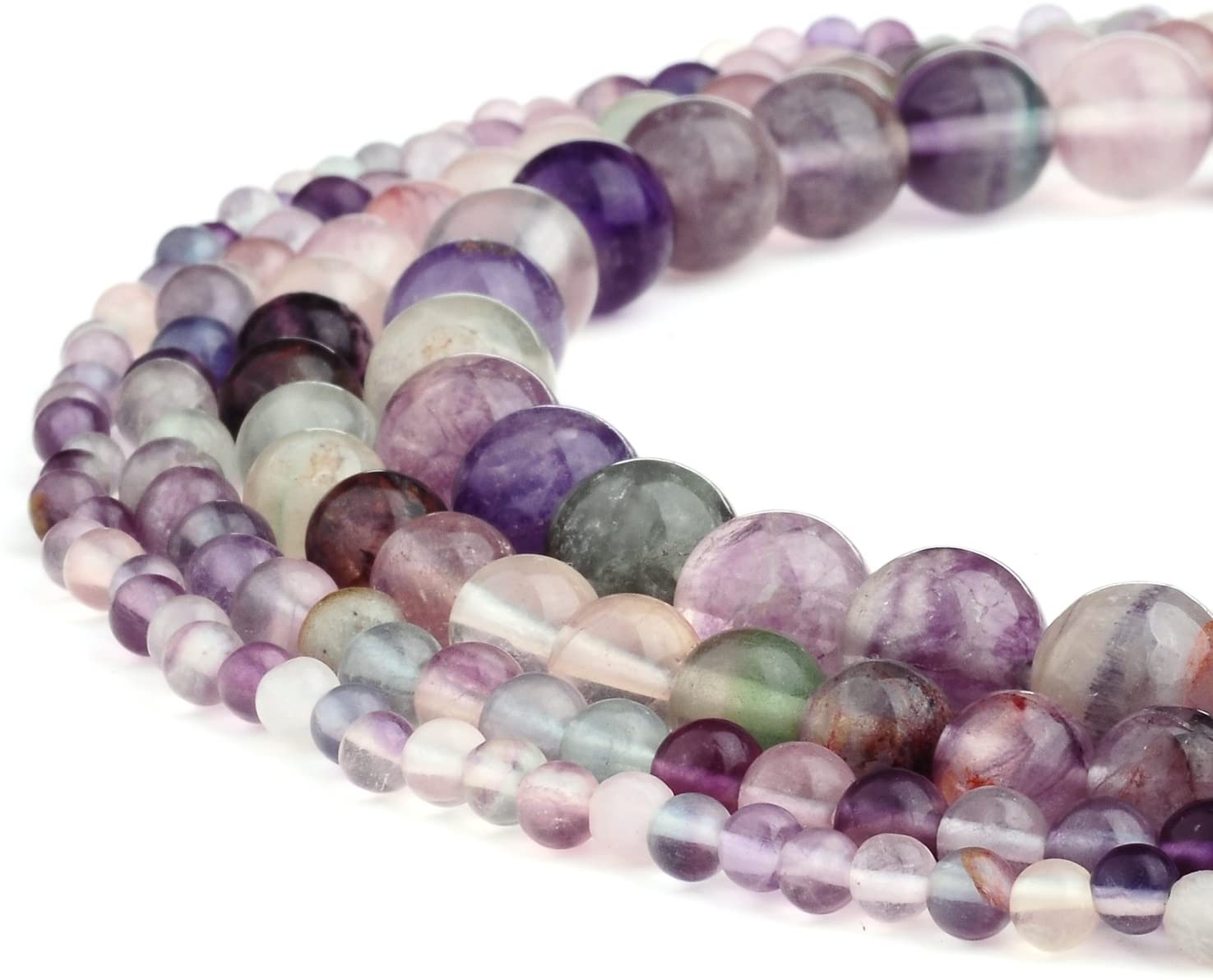 RUBYCA Wholesale Natural Fluorite Gemstone Round Loose Beads for DIY Jewelry Making 1 Strand - 8mm