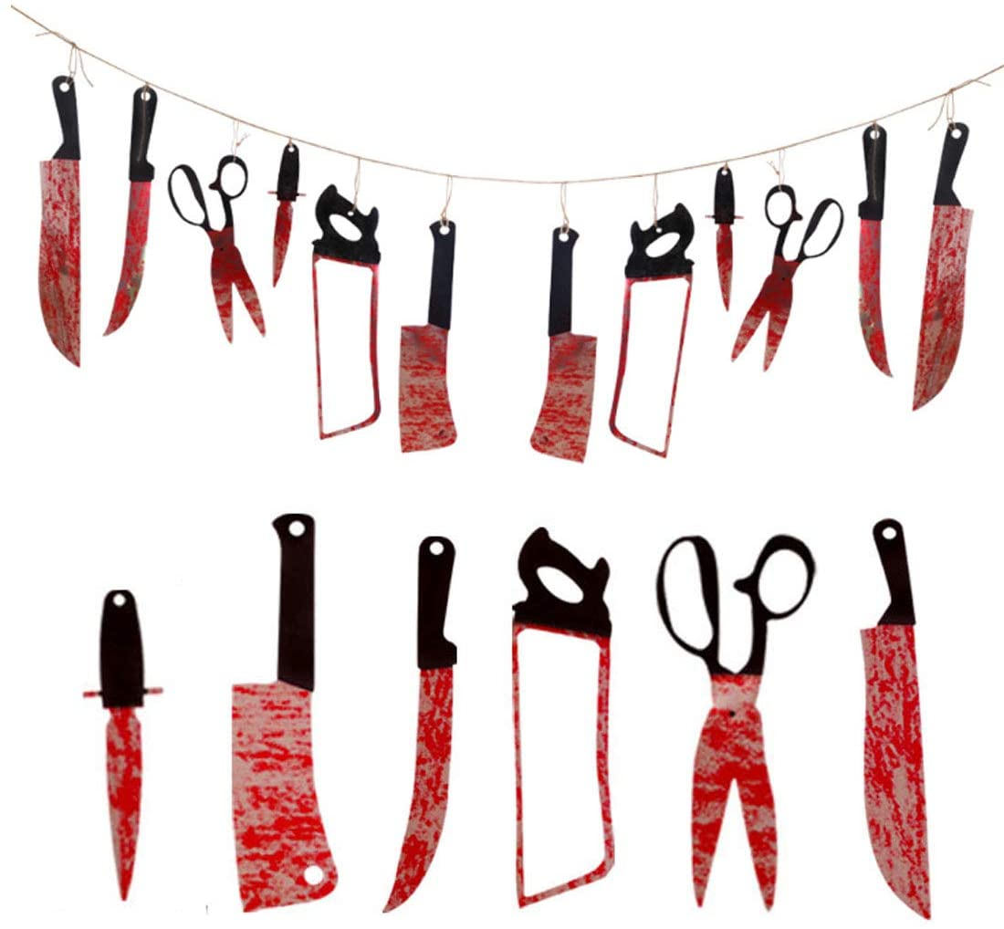 1 Set(12 Pcs),Halloween creative and funny simulation bloody knife scissors party ornaments, paper bar parties home interior horror decoration photo props