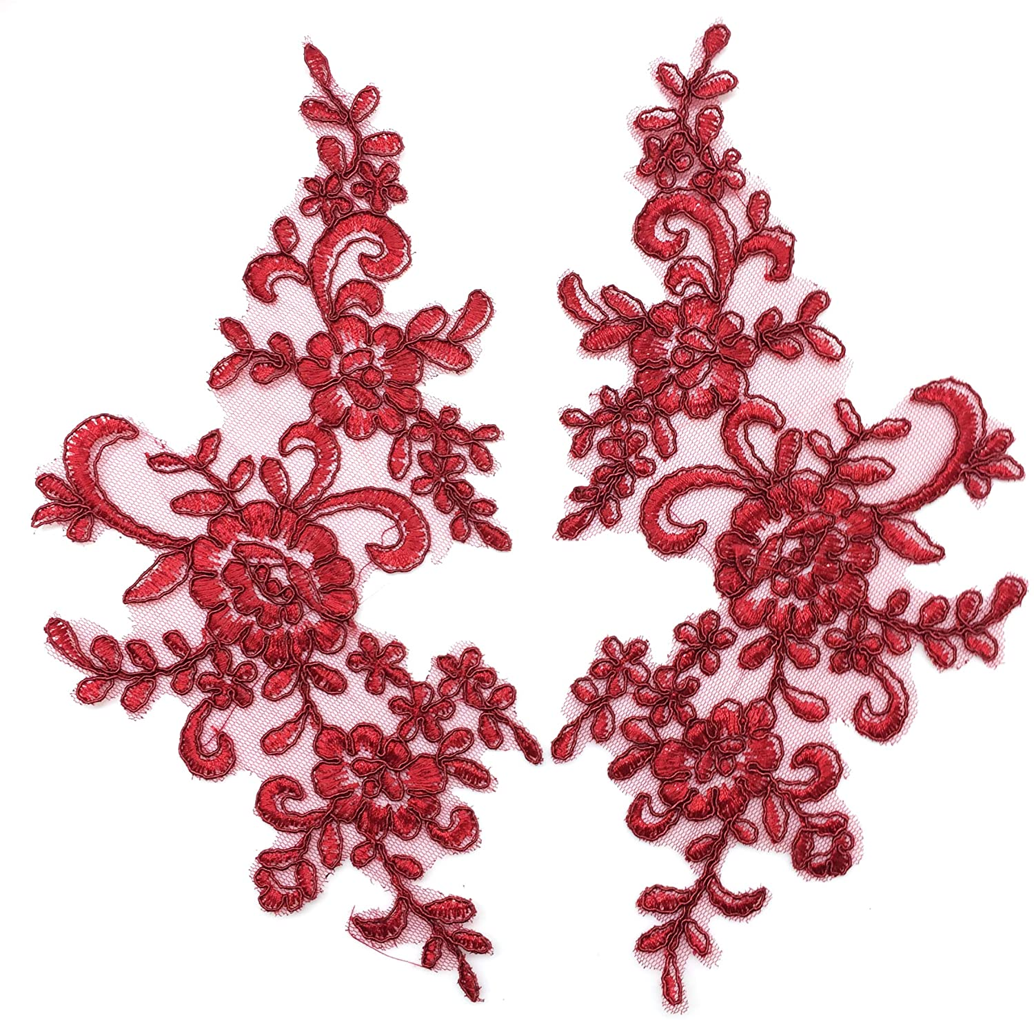 PEPPERLONELY 1 Pair Fine Lace Fabric Patches Embroidered Trim Applique Decor Dress Decoration, Wine Red, 10 X 6 Inch