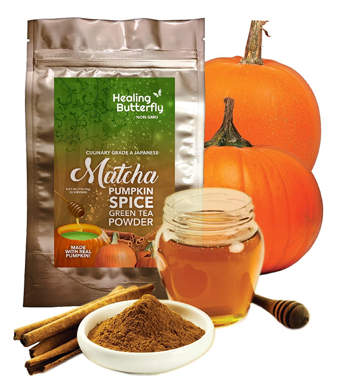 Pumpkin Spice Matcha Green Tea Powder, Japanese Organic Superfood, Premium Grade, Nutrients & Antioxidants Rich, Boosts Metabolism, Detox Tea, Add To Smoothies Too, Tastes Great, 4.01oz (25 Servings)