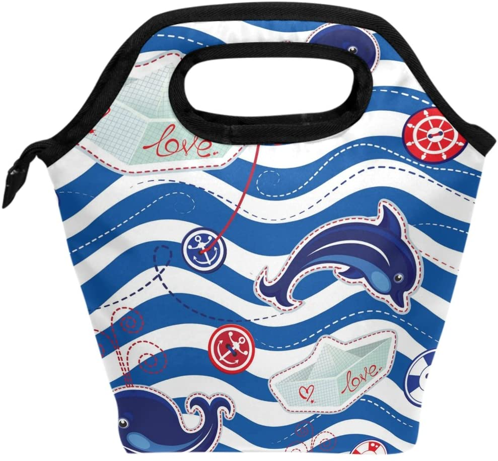 WOZO Dolphin Whale Anchor Chevron Insulated Lunch Bag Tote Bag Cooler Lunchbox Handbag for Outdoors School Girl Boy