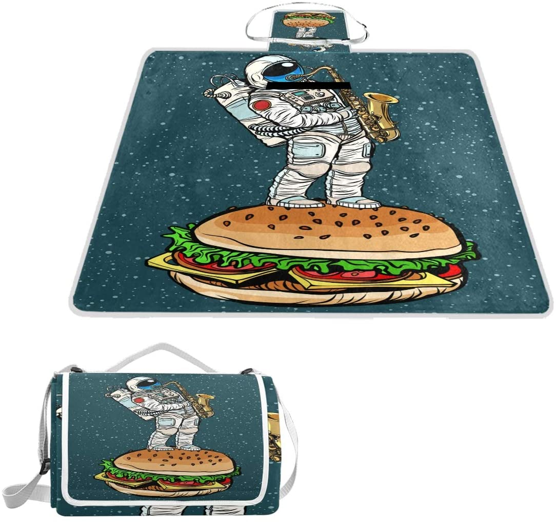 OPRINT Astronaut Plays Saxophone Burger Picnic Blanket Waterproof Outdoor Mat for Camping Hiking Travelling