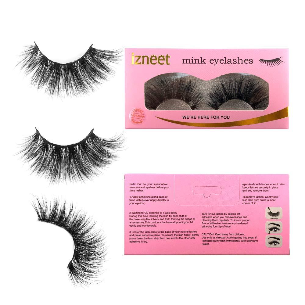 izneet 5D Mink Eyelashes 100% Siberian Mink Fur False Eyelashes 20mm Dramatic False Eyelashes Real Mink High Volume Long Type Lashes Hand Made Strips Reusable Eyelash Makeup (Fjolla)