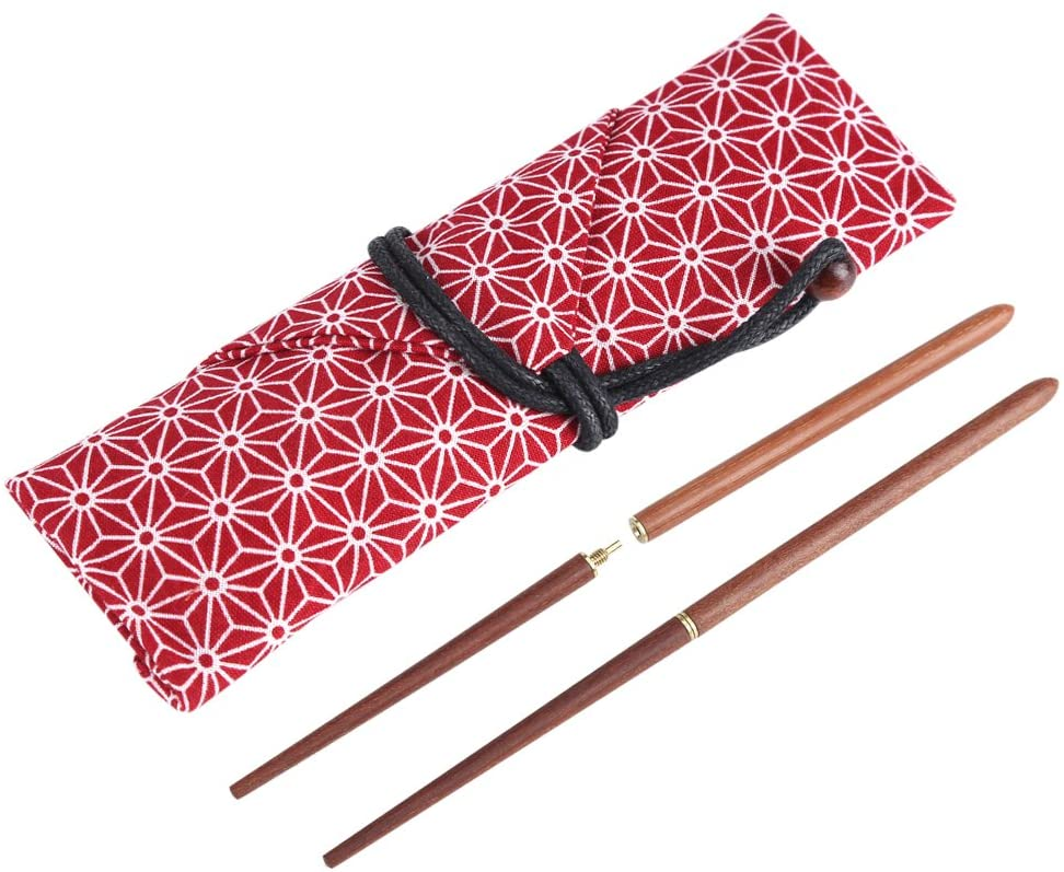 Portable Wood Chopsticks Camping Foldable, Sandalwood Travel with Cloth Bag of Tableware Set (Red)