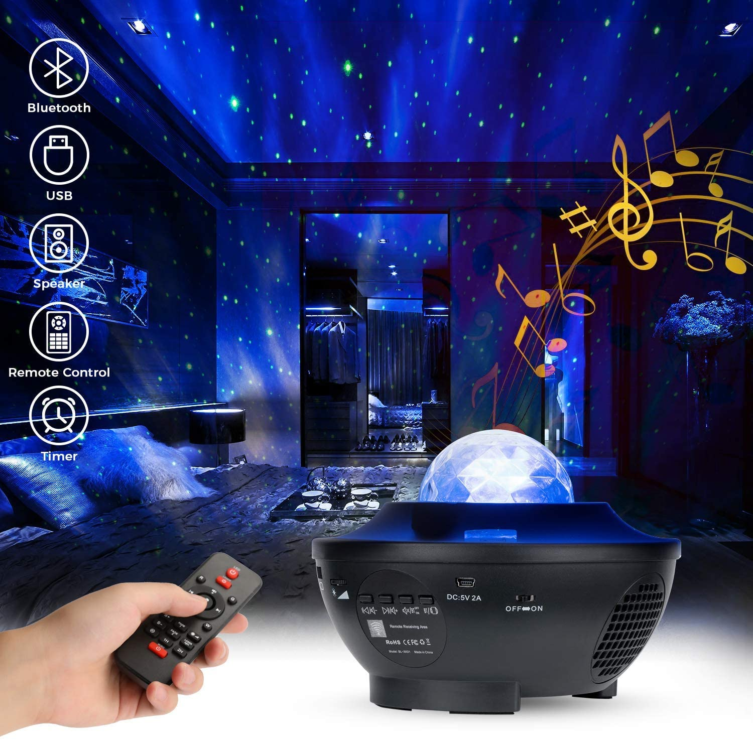 Nebula Galaxy Projector Starry Night Light Projector Ocean Wave Projector Laser Star Light Projector for Bedroom, Game Room