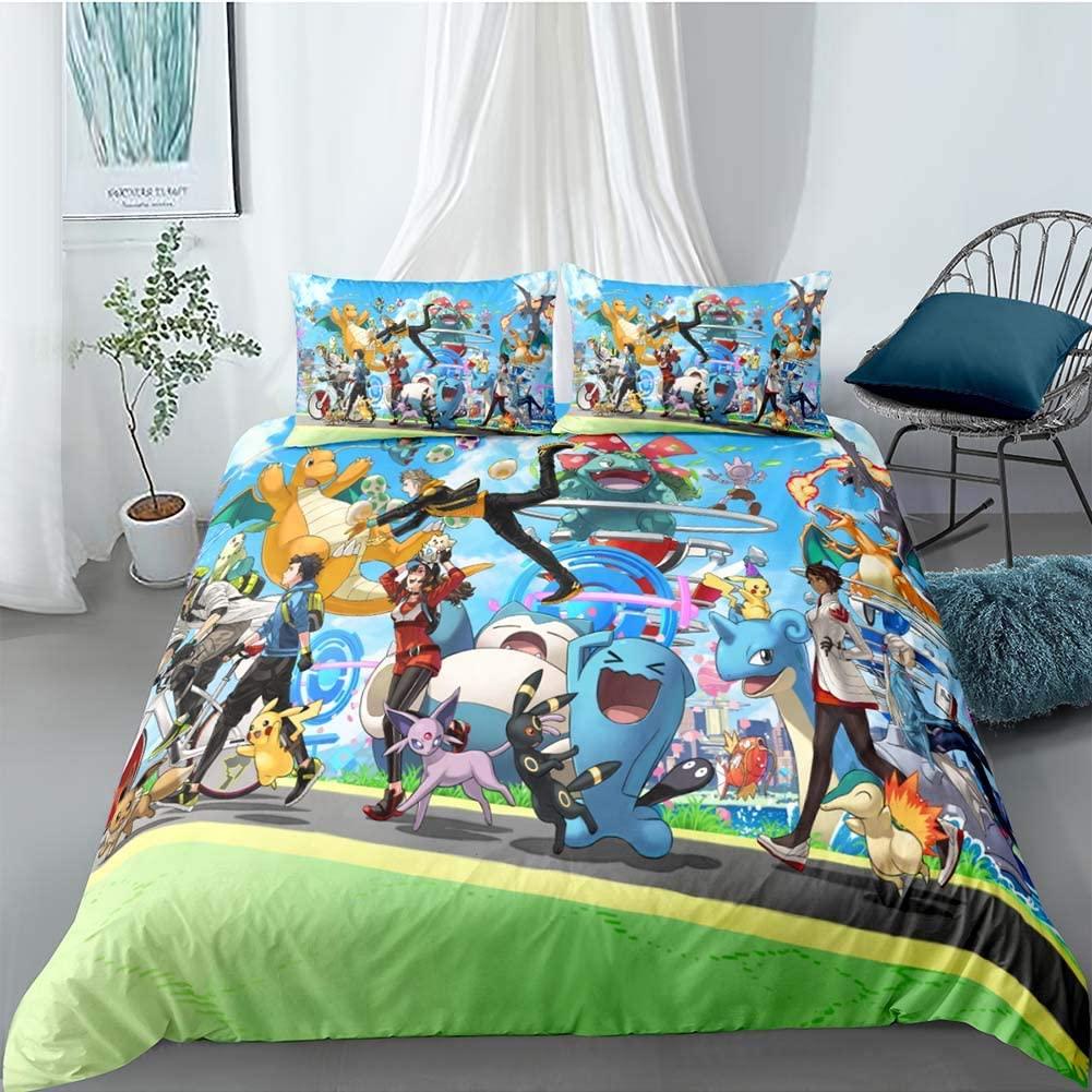 BGHN 3 Piece Pikachu Duvet Cover Set Kids Bedding for Kids, 1 Duvet Cover + 2 Pillowcase, Twin Size