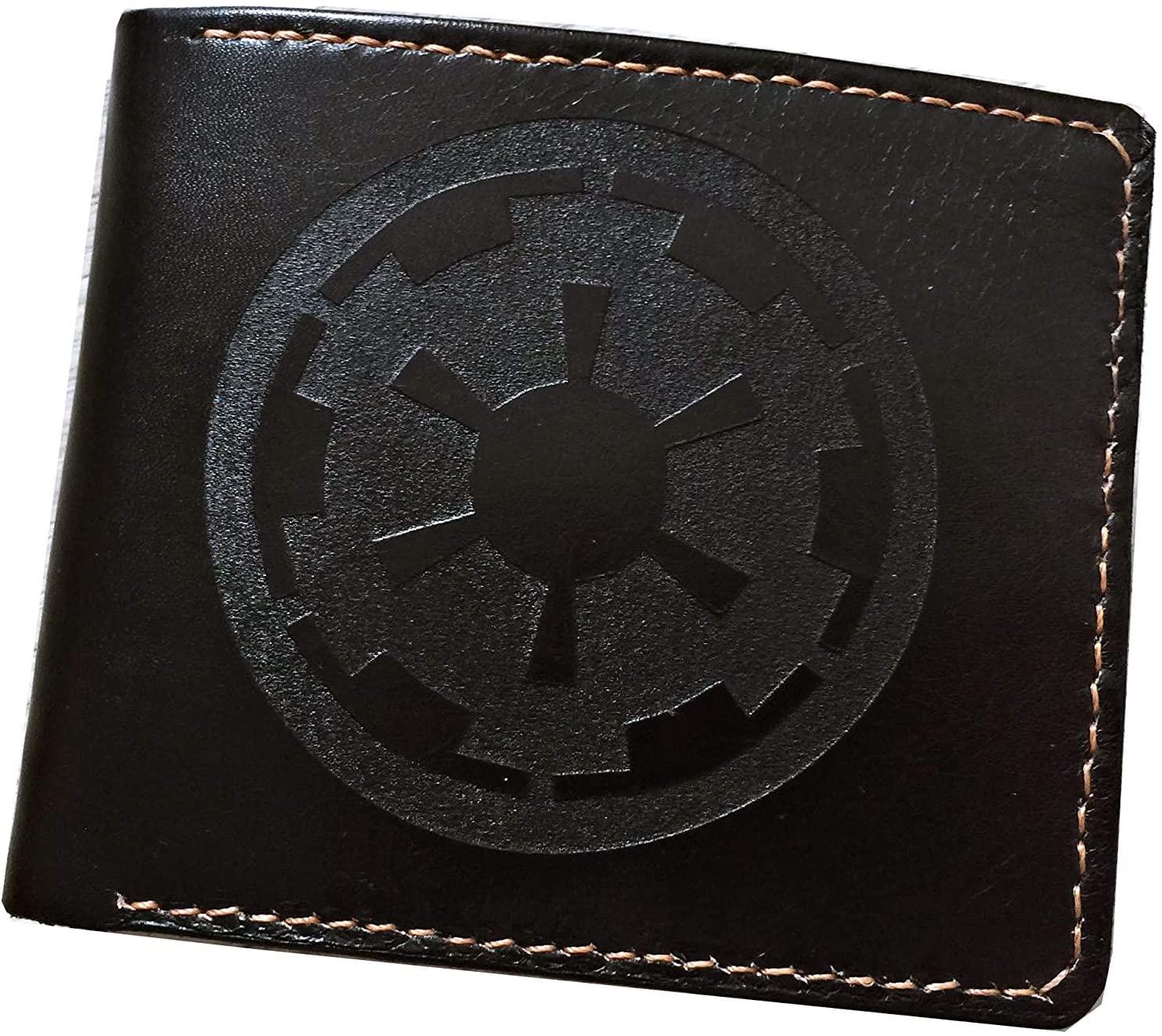 Unik4art - Starwars customized genuine leather handmade men's wallet, starwars gift for men - Imperial crest - 1BL