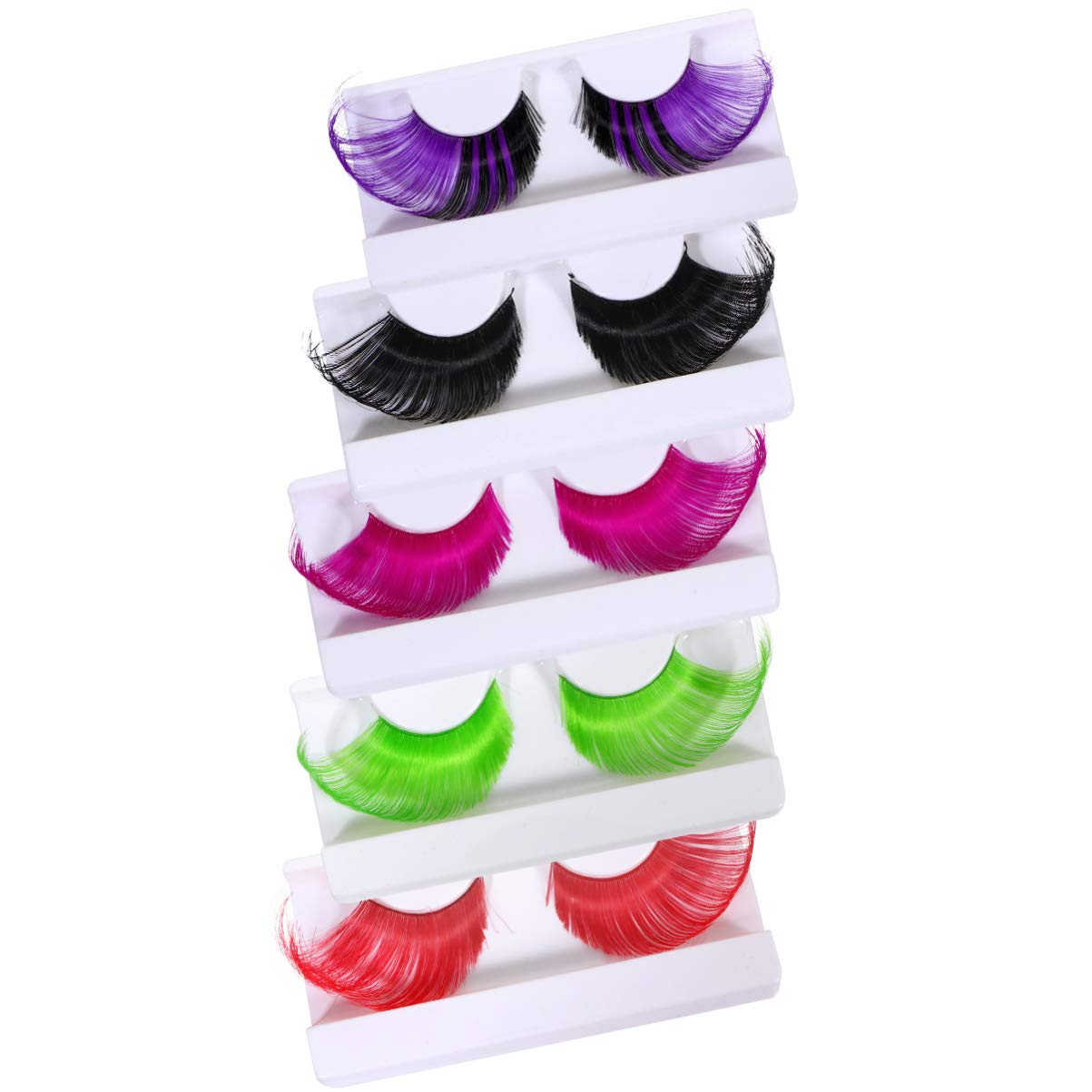 PIXNOR Long Thick False Eyelashes 5 Pairs Halloween Exaggerated Fake Eyelashes Fashion Artificial Lashes for Women Girls Cosplay Costume Party Festival (Assorted Color)