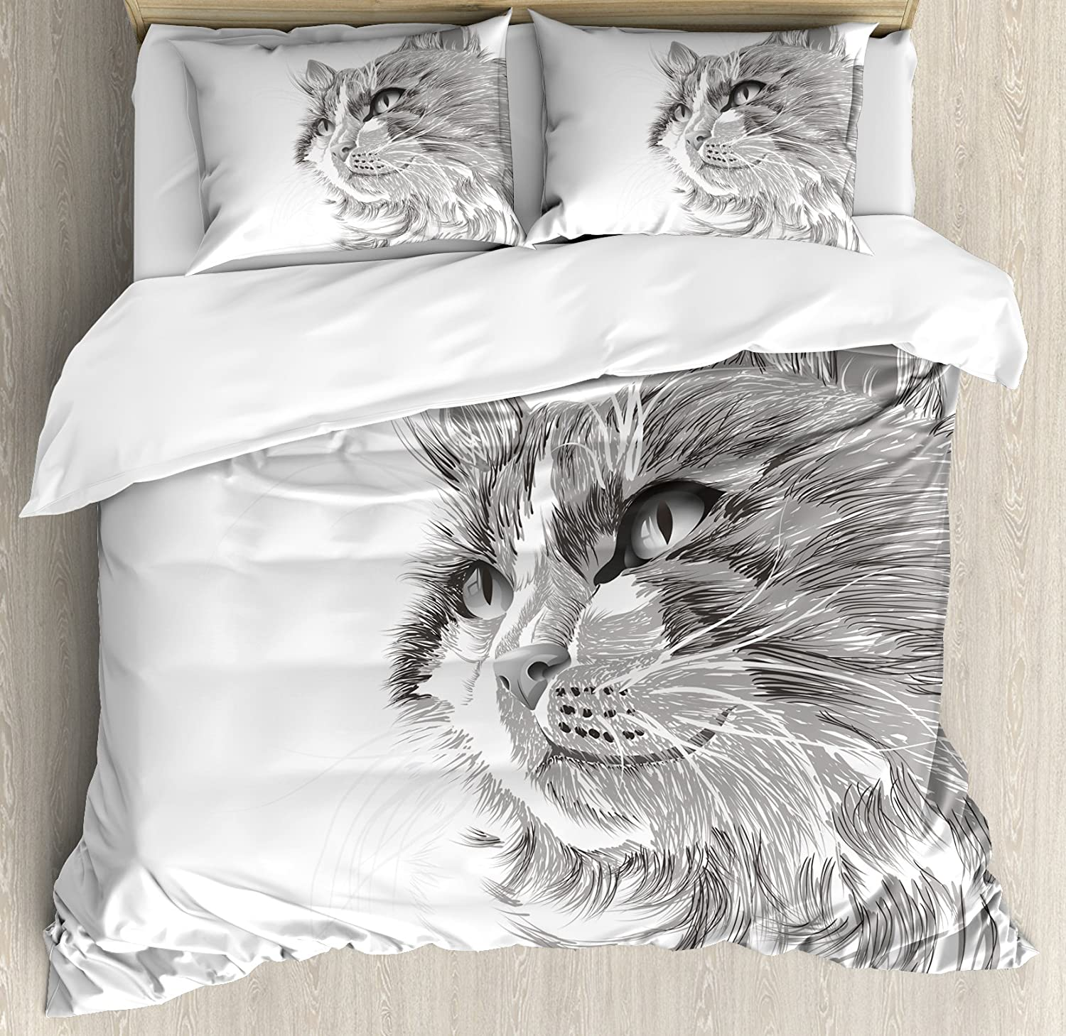 Ambesonne Animal Duvet Cover Set, Cat Head Portrait Furry Head Kitten Domestic Meow Pet Drawing Illustration, Decorative 3 Piece Bedding Set with 2 Pillow Shams, Queen Size, Grey White