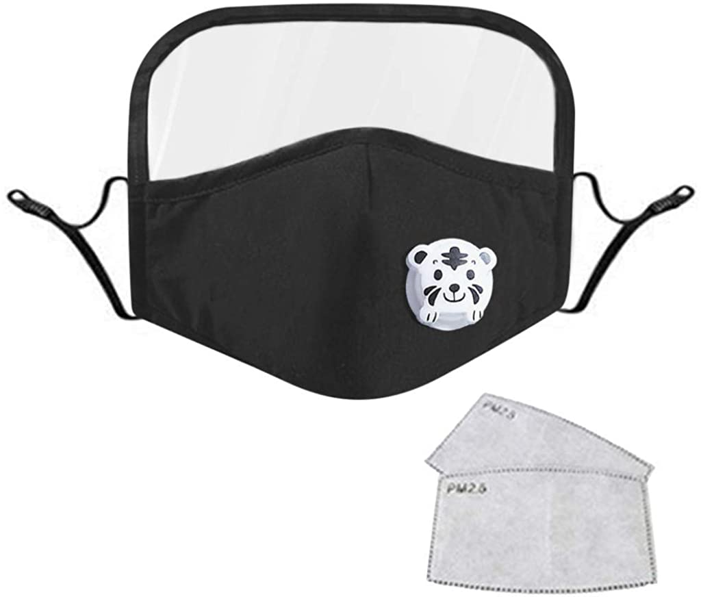 Inforin Solid Color Print Kids Face Bandanas Washable Reusable with Filter and Detachable Eye Shield + 2PC Filters