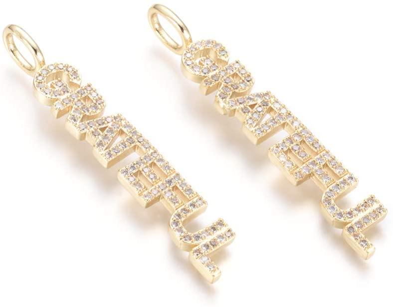 UR URLIFEHALL 5pcs Goloden Letter Grateful Pendants Word Letter Grateful Charm DIY Brass Cubic Zirconia Charms for Jewellery Bracelet Making