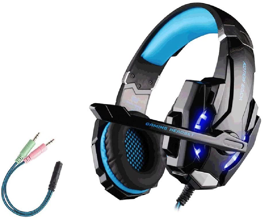 Wasvidra Gaming Headset, Stereo Over Ear Headphones with Noise Canceling Mic for PC, PS4, Xbox One Controller Original G9000 3.5mm Game Gaming Headphone for Laptop Tablet PS4 Phones