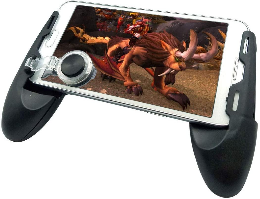 Mobile Joystick Controller Grip Case for Smartphones, Mobile Phone Gaming Grip with Joystick, Controller Holder Ergonomic Design (Black Type 02)