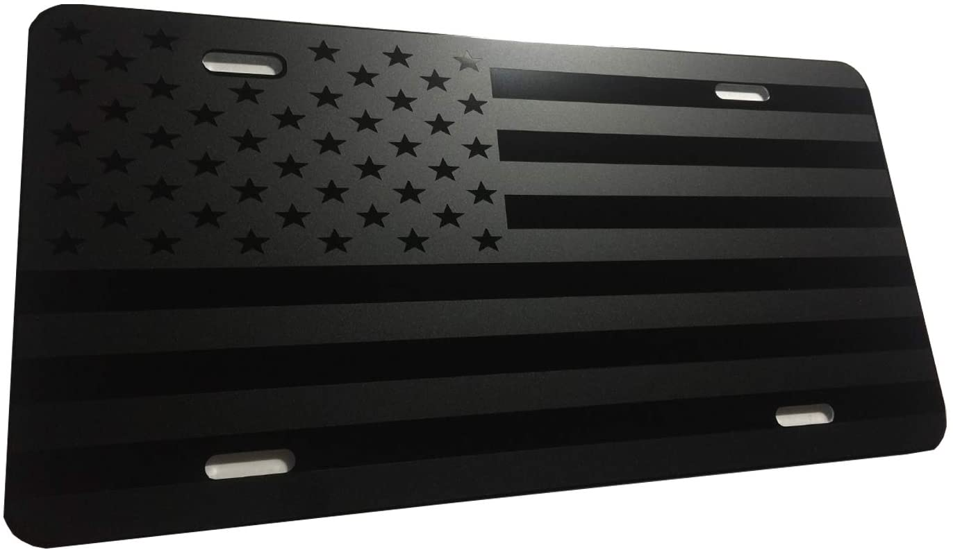 CustoMonsterDesigns Max Level Stealth Tactical American Flag Heavy Duty Aluminum License Plate Subdued S14
