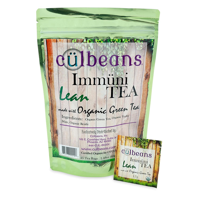ImmuniTEA Lean, USDA Organic Green Tea with Yerba Mate & Reishi (25 Tea Bags), Green Tea, Weight Loss Supplements, Healthy Green Tea Bag Set, Natural Detox Tea for Men & Women - Culbeans