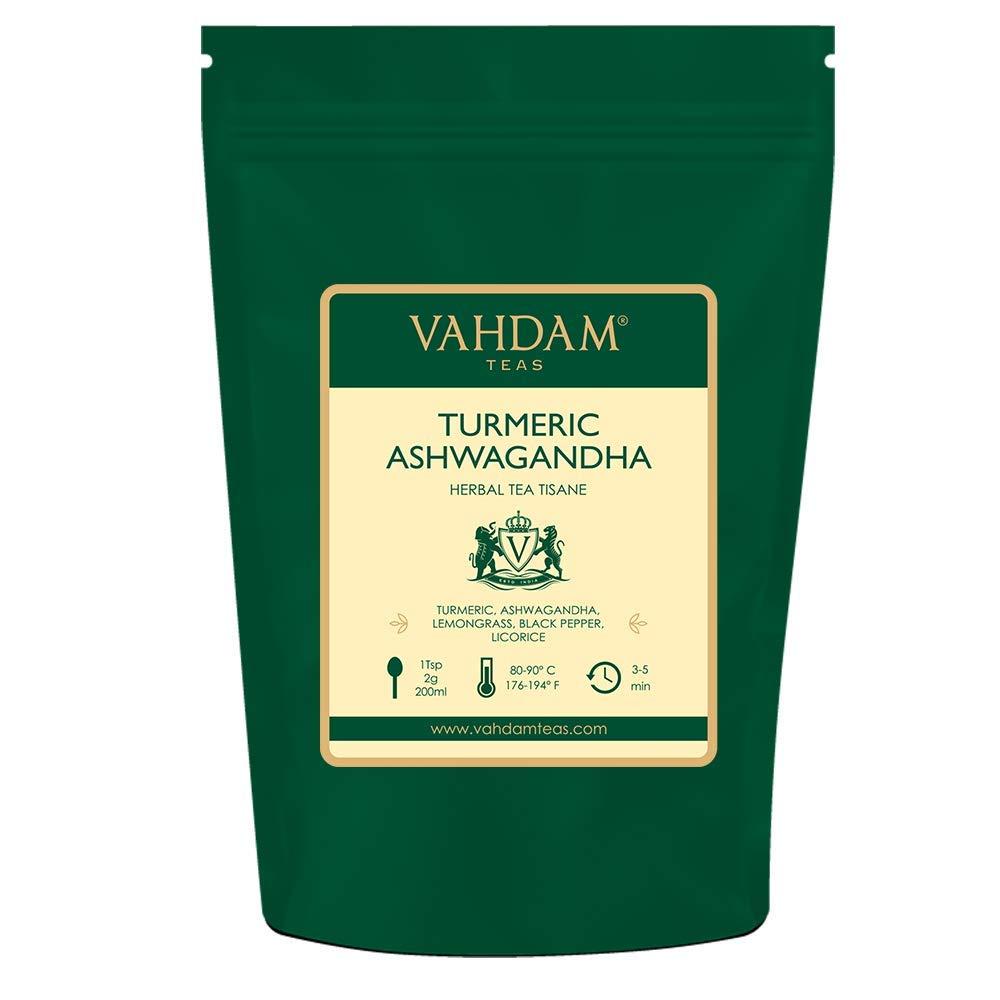 VAHDAM, Turmeric + Ashwagandha (100 Cups) | India's SUPERFOOD | Ancient Medicine Blend of Turmeric & Garden Fresh Spices, ABUNDANT IN ANTI-OXIDANTS | IMMUNE SUPPORT | Herbal Tea | Detox Tea |7oz