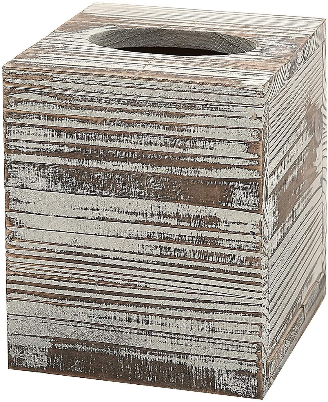 ZHU YU CHUN Rustic Torched Barnwood Brown Square Tissue Box Cover with Slide-Out Bottom Panel (Gray)