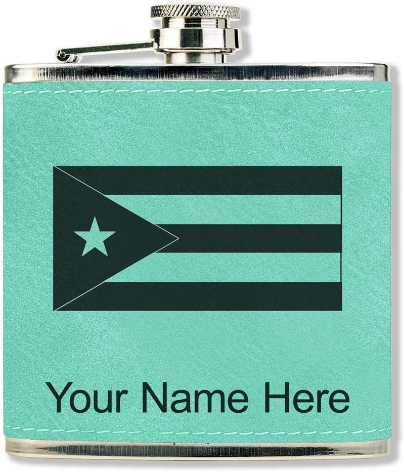 Faux Leather Flask, Flag of Cuba, Personalized Engraving Included (Teal)