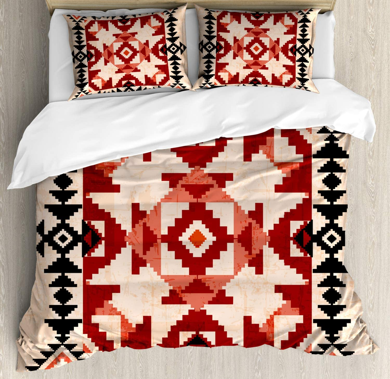 Lunarable Geometric Duvet Cover Set, Pattern with Rhombuses Squares Ornamental Design, Decorative 3 Piece Bedding Set with 2 Pillow Shams, King Size, Black Peach