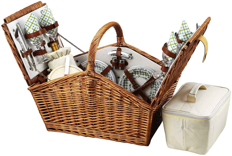 GIFTS PLAZA (D) Huntsman Picnic Basket for 4, Full Equipment Set for Outdoor (Green)