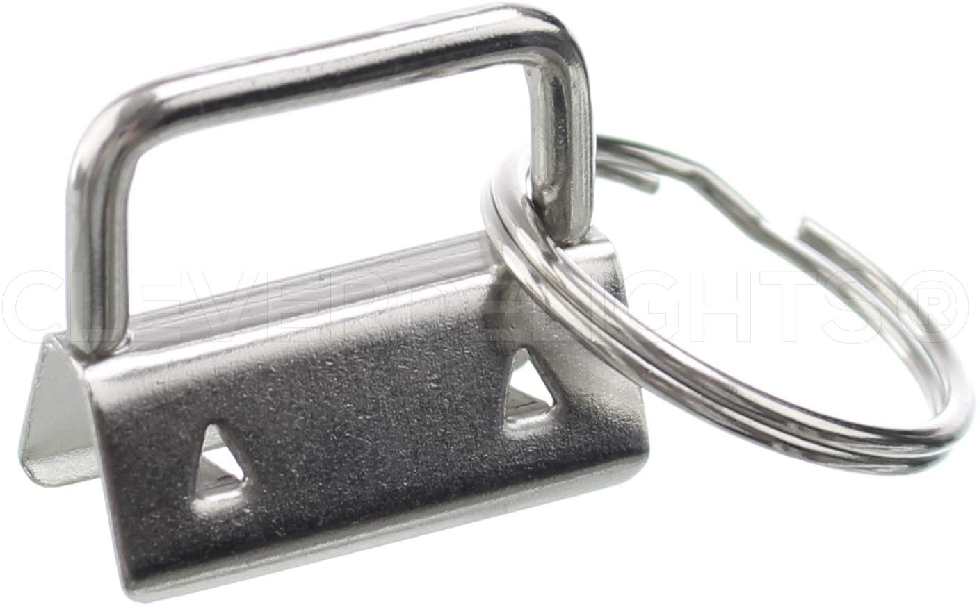 50 Pack - CleverDelights 1 Key Fob Hardware Set with Key Rings - for Lanyards Key Chain Wristlets - 1 Inch