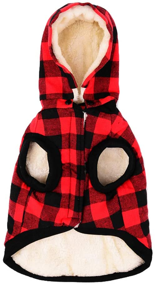 Tineer Large Dog Clothes Pet Sweater Dog Grid Clothing Warm Removable Puppy Cute Hooded Coats Plaid Jacket Hoodies 6 Sizes