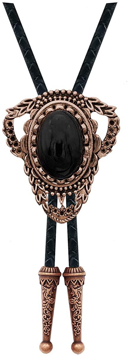 YOQUCOL Vintage Black Stone Bolo Tie Native American Western Cowboy Retro Genunie Leather Necktie For Men
