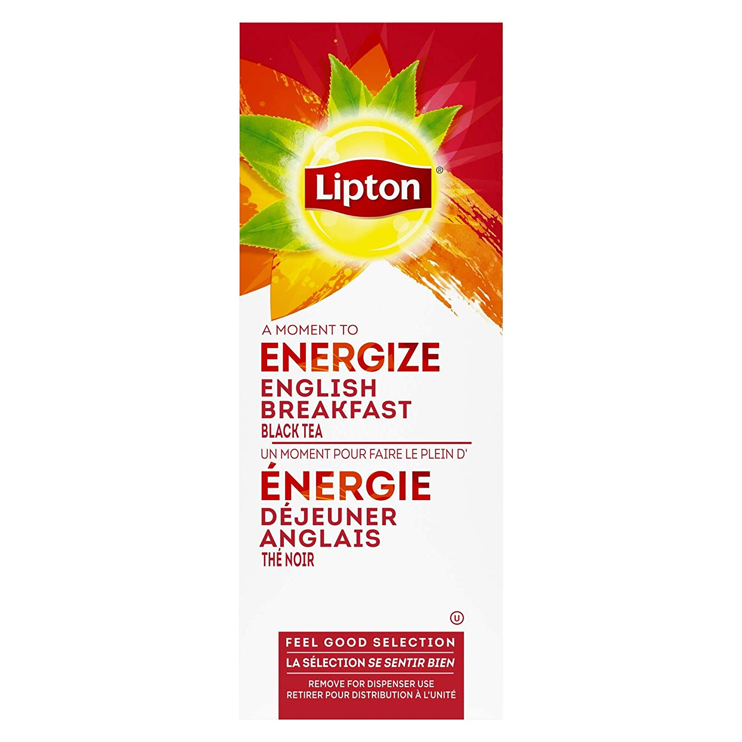 Lipton English Breakfast Enveloped Hot Tea Bags Made with Tea Leaves Sourced from Rainforest Alliance Certified Farms, 28 count, Pack of 6