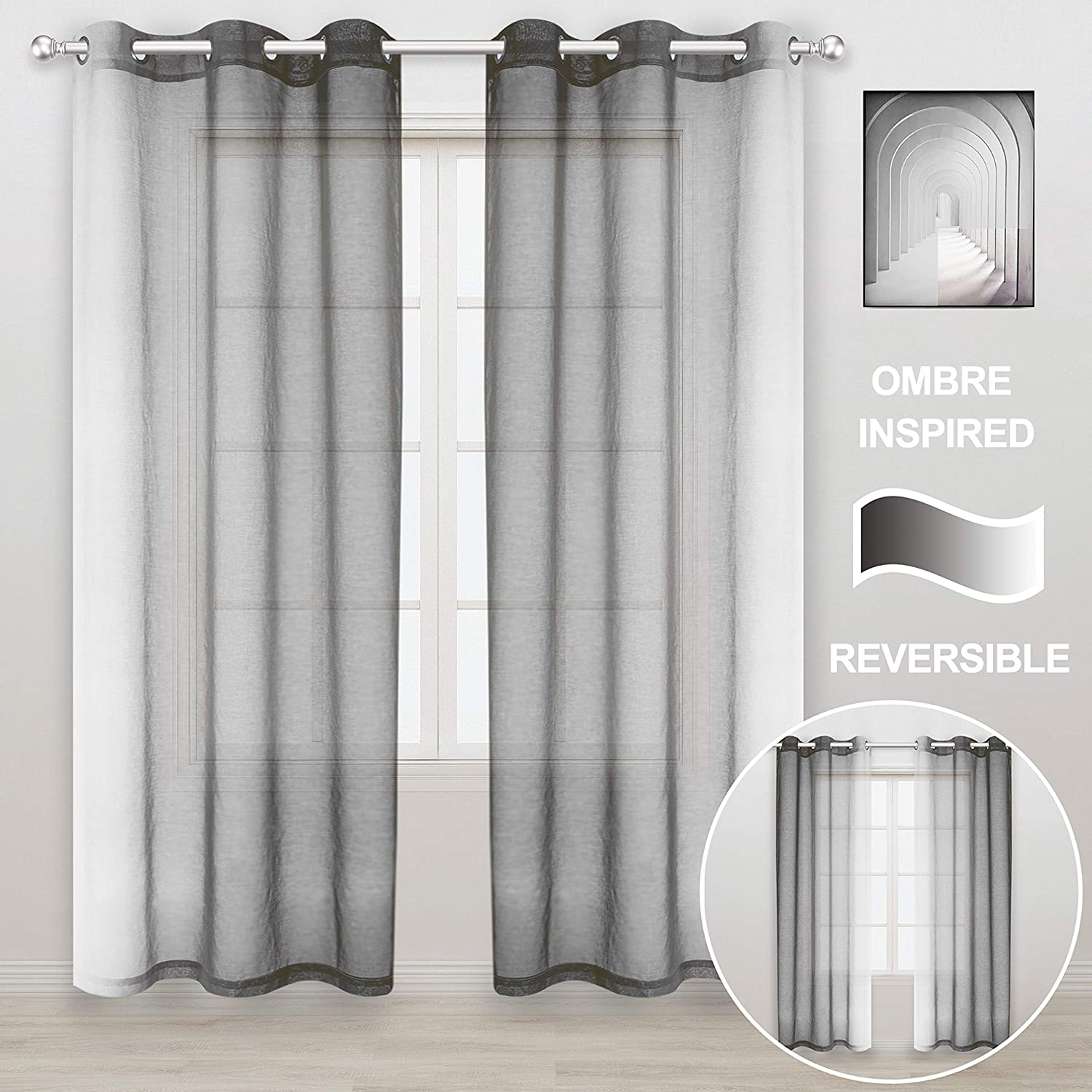 WONTEX Faux Linen 2 Tone Ombre Sheer Curtains for Living Room/Bedroom, 42 x 84 Inch Long, Grey and White – Light Filtering and Privacy Gradient Curtain, Grommet Semi Sheer Voile, Set of 2 Panels