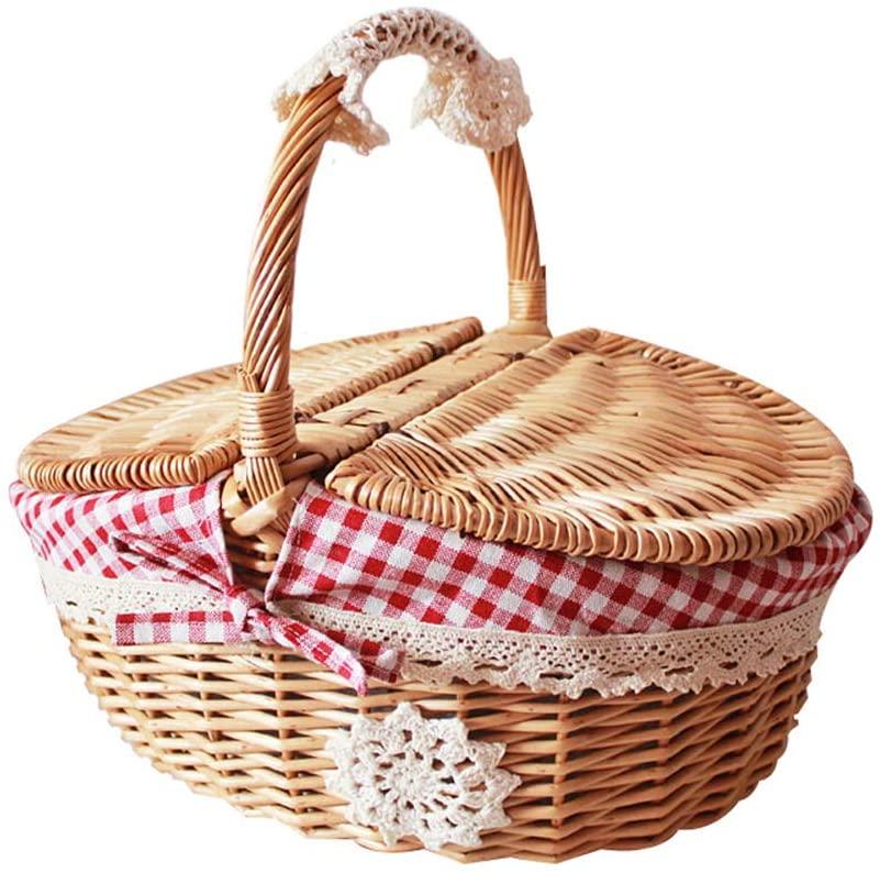 Fishines Wicker Picnic Baskets Natural Woven Woodchip Basket Easter Candy Basket Storage Basket Wine Basket with Handle Egg Gathering Wedding Basket