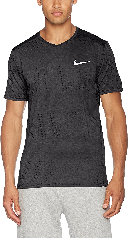Nike Breathe Short Sleeve Running Top Black/Heather/Black Mens Clothing