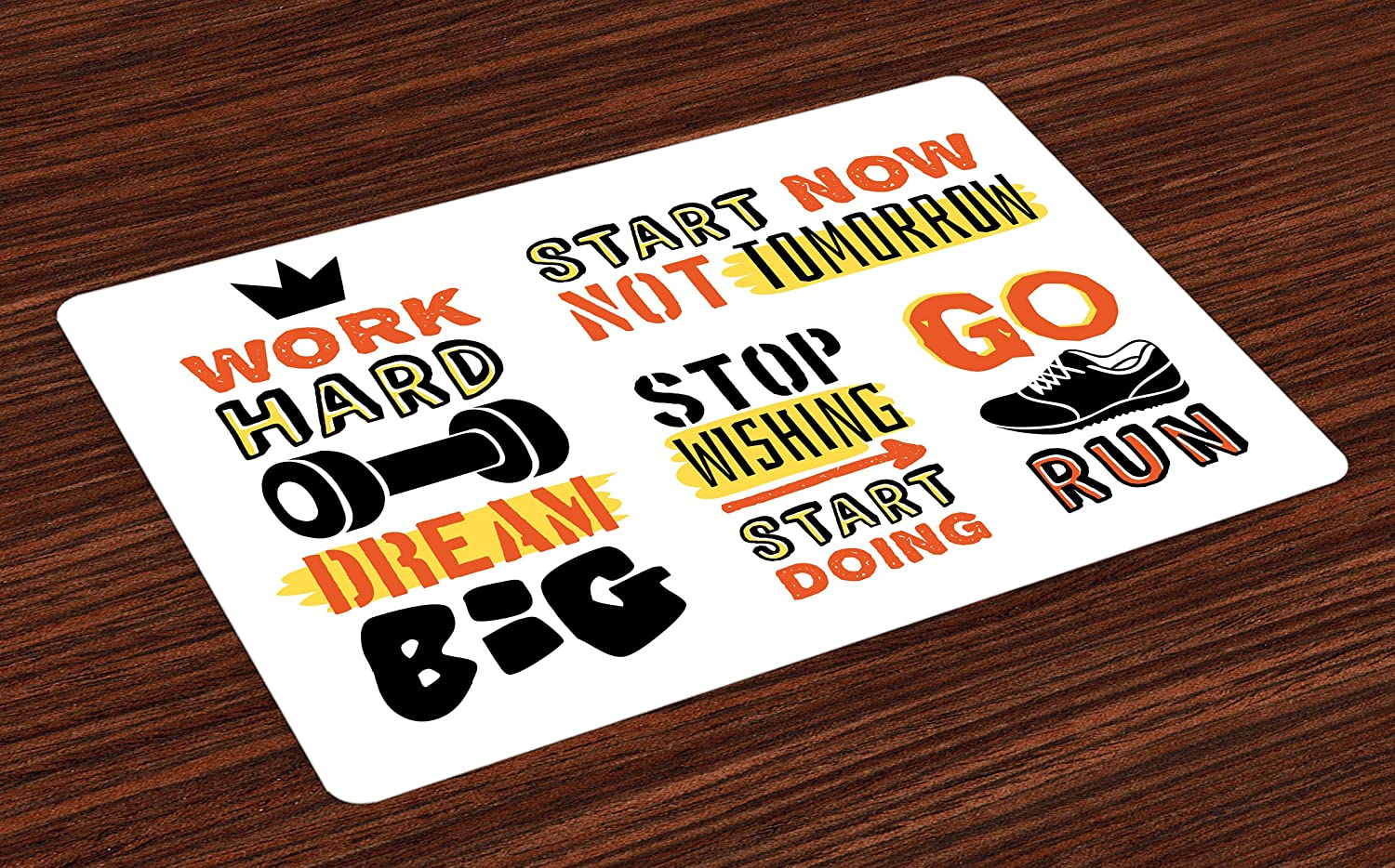 Ambesonne Fitness Place Mats Set of 4, Sports Affirmation Positive Words Motivational Typography Design Sneakers, Washable Fabric Placemats for Dining Room Kitchen Table Decor, Orange Yellow Black