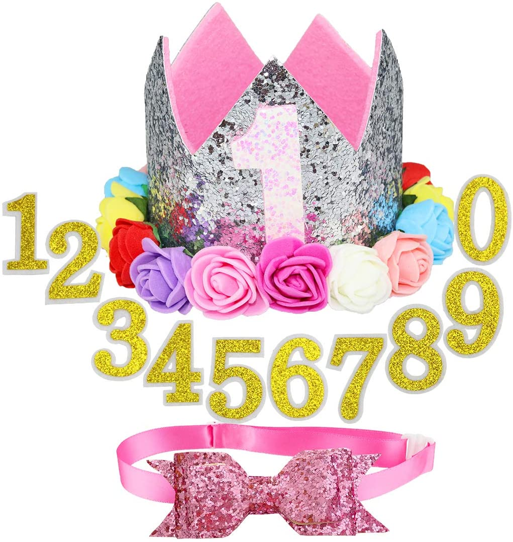 Aillion Crown Dog Cat Birthday Hat with 0-9 Figures Charms and Bowtie Collar