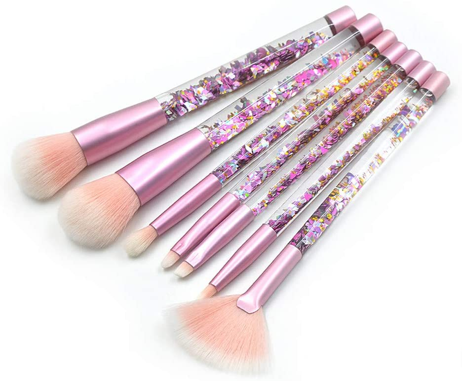 Fineday 7 Pcs Shiny Crystal Glitter Acrylic Handle Nylon Hair Makeup Tool (Pink), Makeup Brush, Shipping from The US (Multicolor)