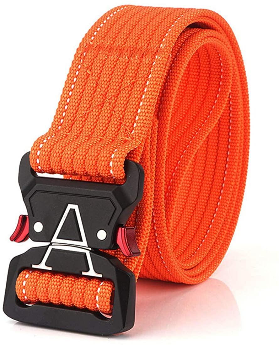 Tactical Rigger Belt Men and Women Nylon Webbing Waist Belt with V-Ring Heavy-Duty Quick-Release Buckle Nylon Belt
