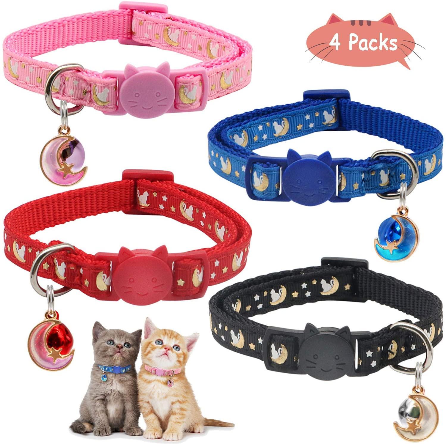 RYPET 4PCS Cat Collars Breakaway with Bell Moons Stars Adjustable Kitten Collar with Pendant Glow in The Dark