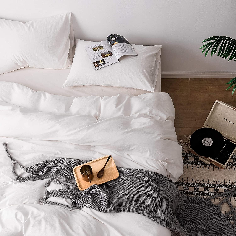 Roore White 100% Stone Washed Cotton Duvet Cover Set I 3 Piece Bedding Set (2 Pillow Shams and 1 Duvet Cover) I Soft Wrinkled Striped Design (White, King)
