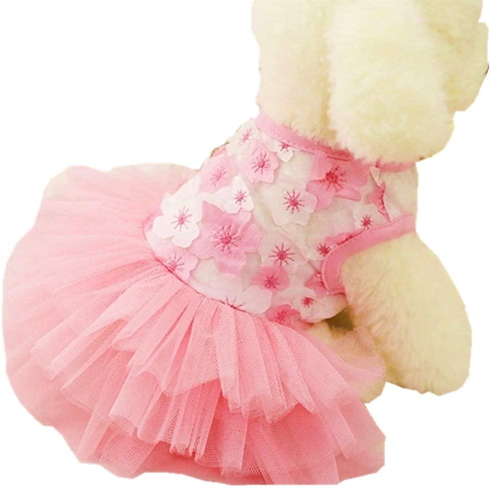 QingLuo Pet Dog Princess Bow Lace Tutu Skirt Dress Small Cute Doggie Dress for Dog Cat (Large, Pink)
