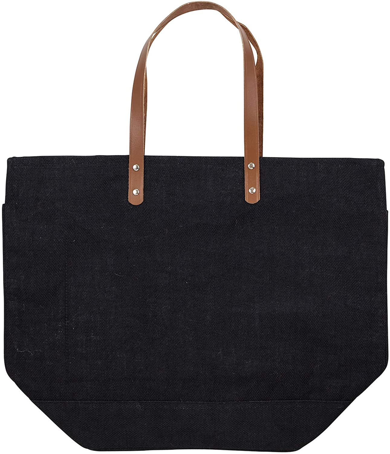 Charcoal Dark Grey 21 x 16 Jute Fabric Tote Bag with Strap