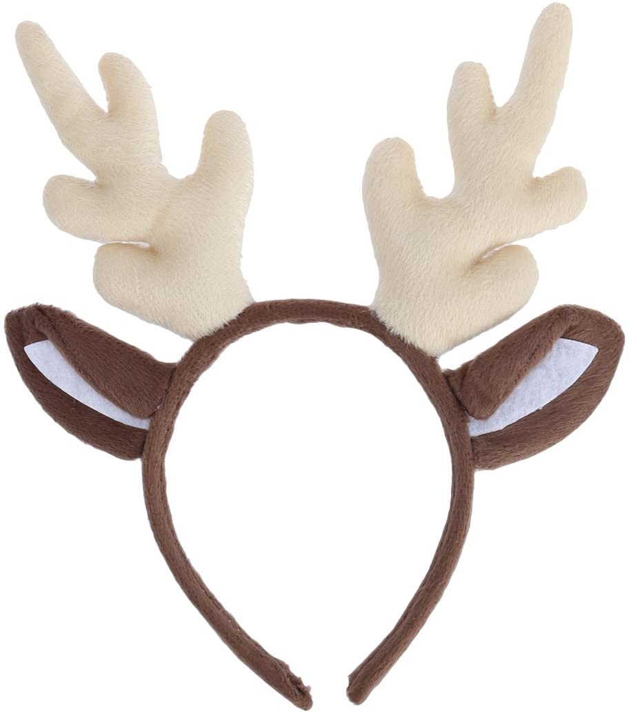 LUOEM Christmas and Holiday Party Headband Reindeer Antler Hair Hoop Headwear for Children Adult Costume Party (Milk White)