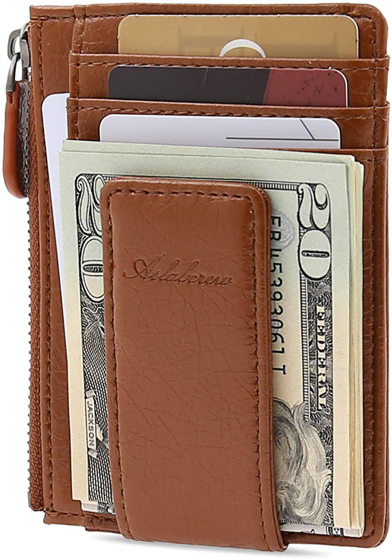 AslabCrew Money Clip, Front Pocket Wallet, Genuine Leather RFID Blocking Magnet Zipper Wallet