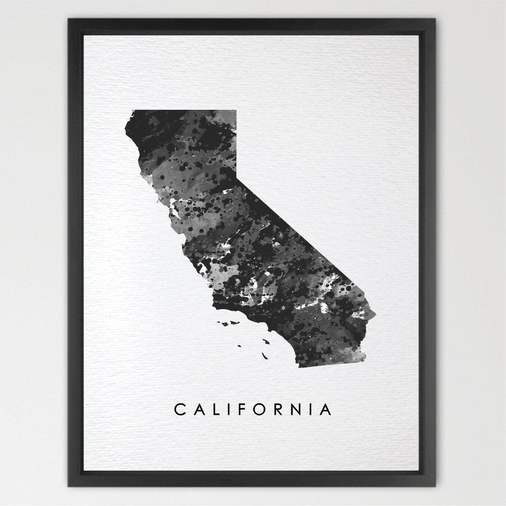 Dignovel Studios 13X19 California Map USA States Map America Map Print Kids Watercolor Print Wall Art Poster Home Decor Kids Art Motivational Inspirational N176