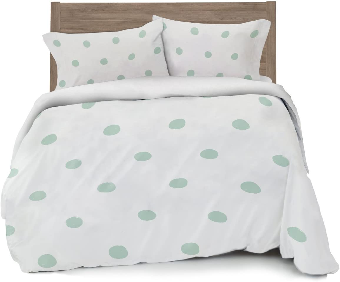 Seafoam Green Polka Dot Duvet Cover Full/Queen Size Bedding, Soft and Wrinkle Free, White and Mint