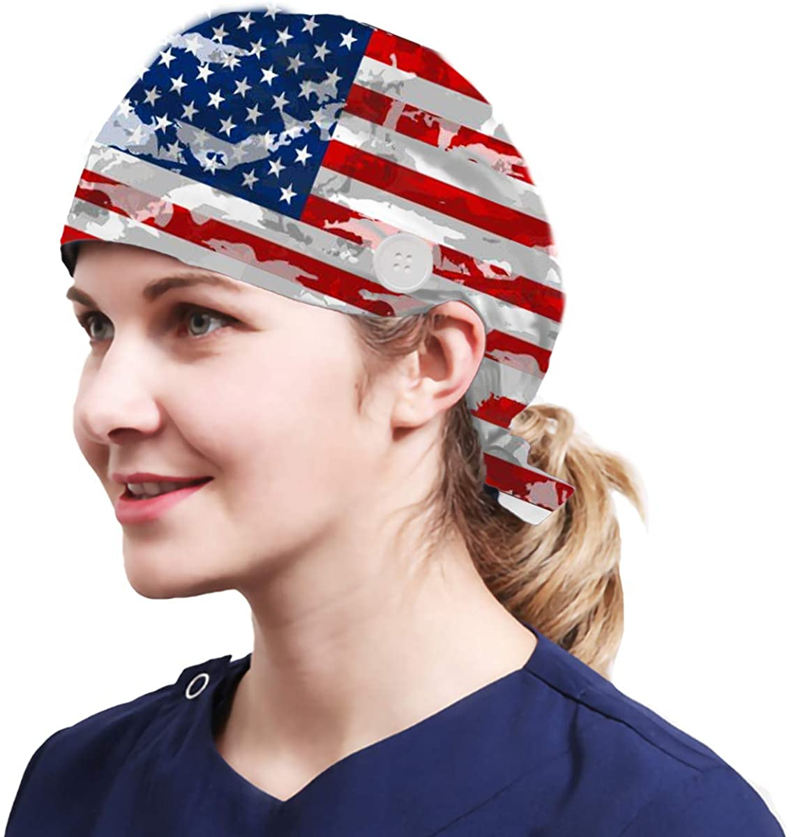 Alex Vando One Size Working Cap with Sweatband Adjustable Tie Back Hats Printed for Women
