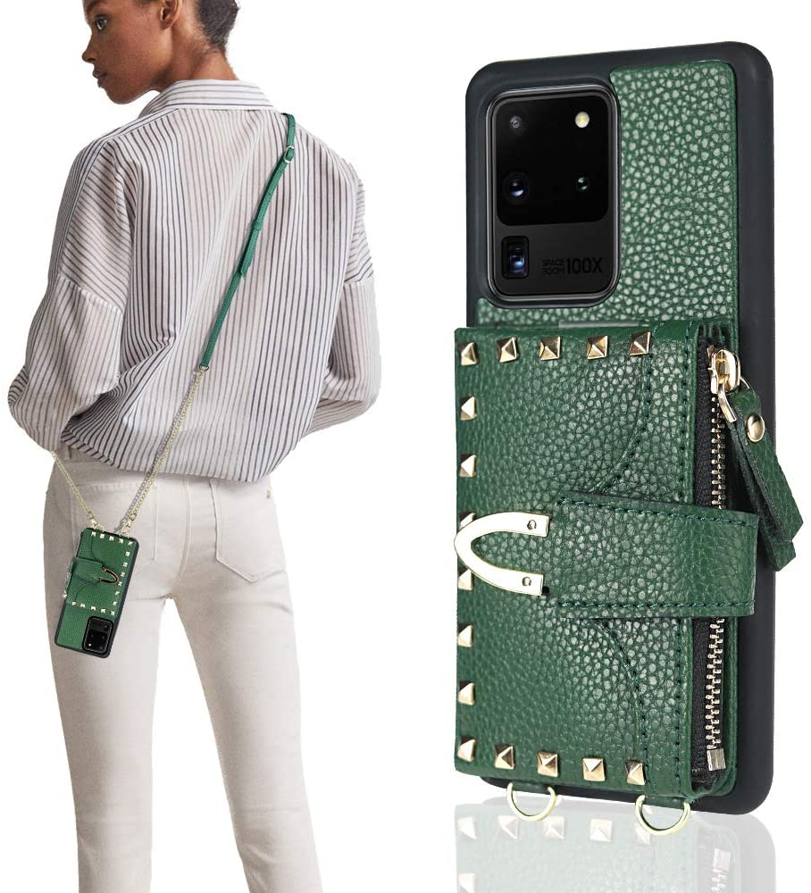 ZVE Wallet Case for Samsung Galaxy S20 Ultra, Samsung S20 Ultra Credit Card Holder Case with Wallet Crossbody Handbag Purse Wrist Strap Protective Case Cover for Galaxy S20 Ultra 6.9