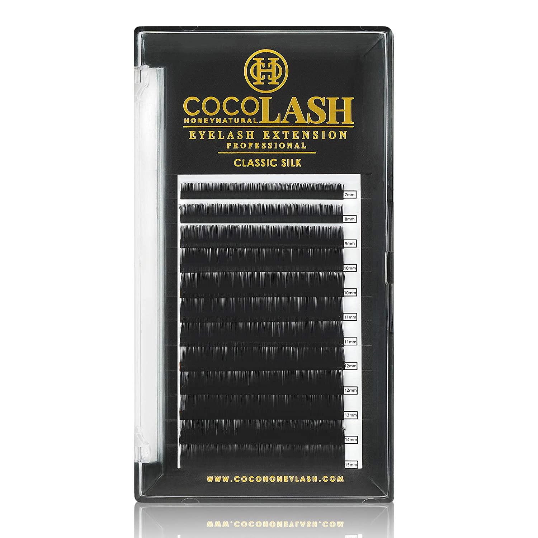 COCO Honey Lash Eyelash Extensions, Classic J Curl [0.20mm], Faux Mink Individual Lash Extensions (Length: 8mm / 10mm / 11mm / 12mm / 13mm / Mix) (13mm)