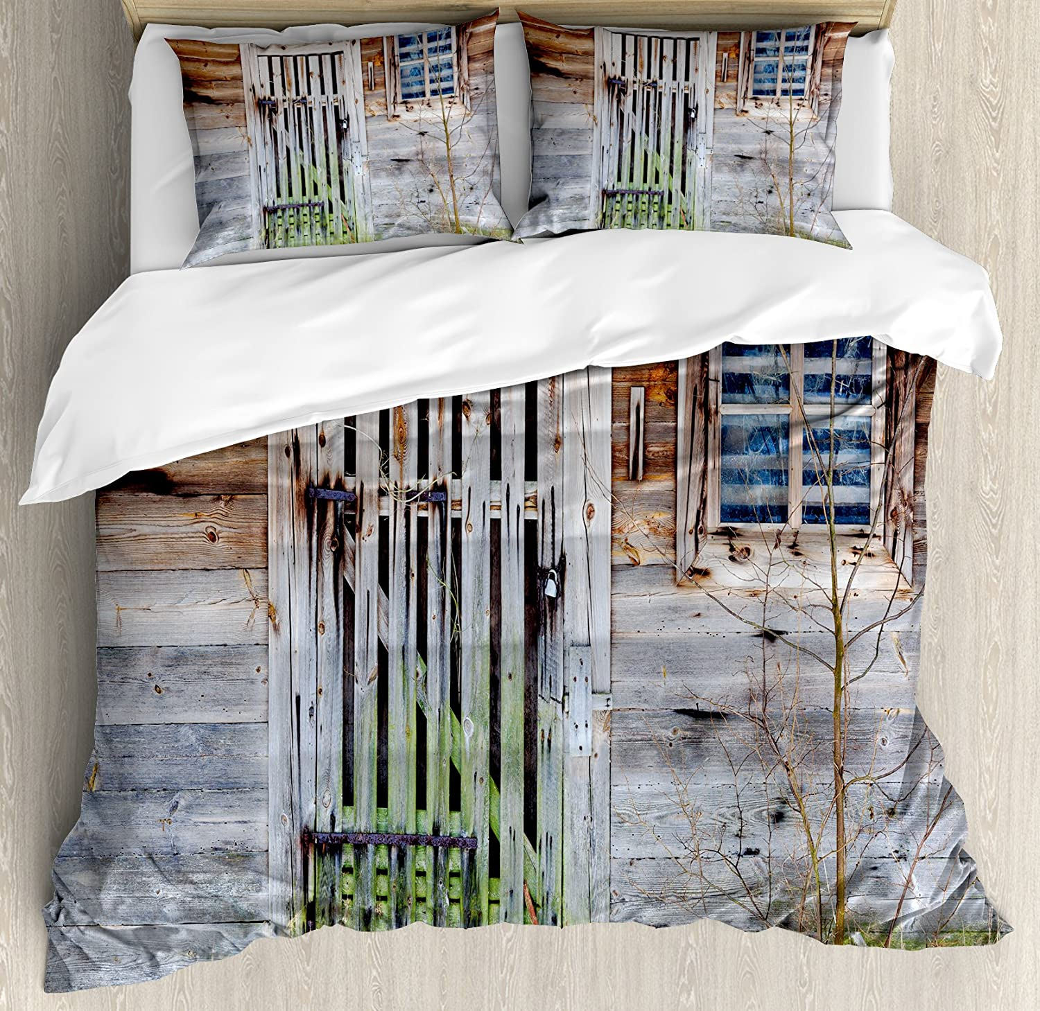 Ambesonne Prehistoric Country Duvet Cover Set, Retro Neglected Old Farmhouse Rustic Wooden Door and Window Rural, Decorative 3 Piece Bedding Set with 2 Pillow Shams, King Size, Brown Green