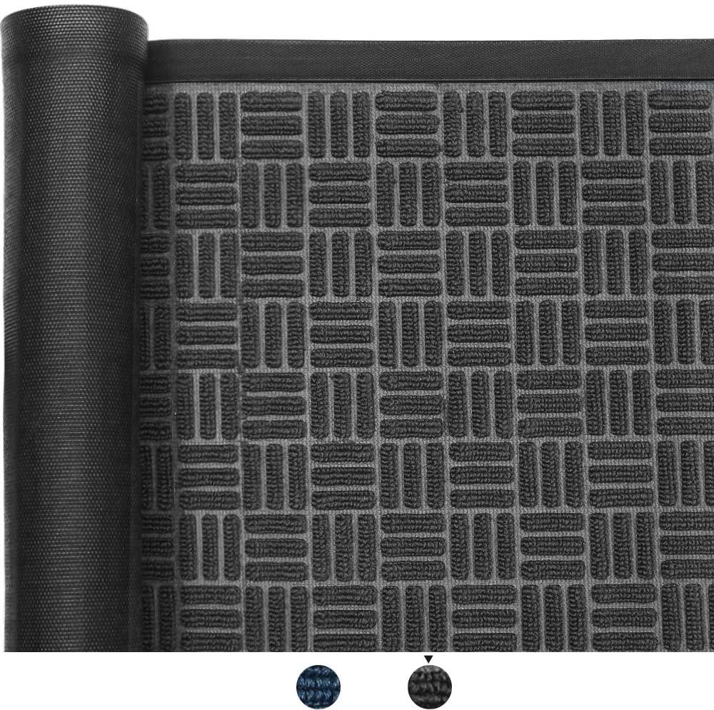 Color&Geometry Outdoor Door Mat 17X29 Mats, Low-Profile Doormat, Indoor Outdoor, Waterproof, Heavy Duty Mat for Floor, Patio, Entry, Back Front Door,Black