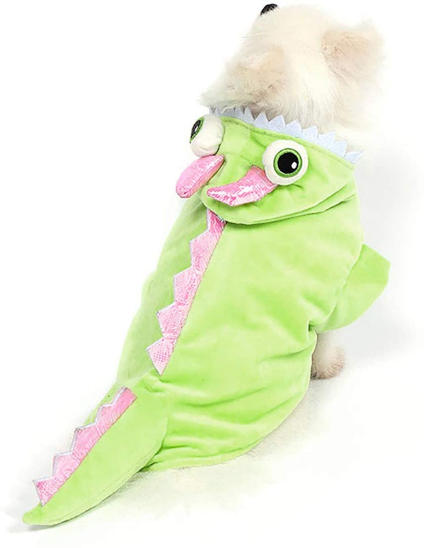 Mogoko Dog Cat Dragon Costumes, Pet Halloween Cosplay Dress, Green Dinosaur Costume for Dogs
